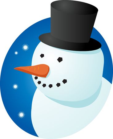 tophat: Smiling cheery snowman in tophat winter scene illustration Stock Photo