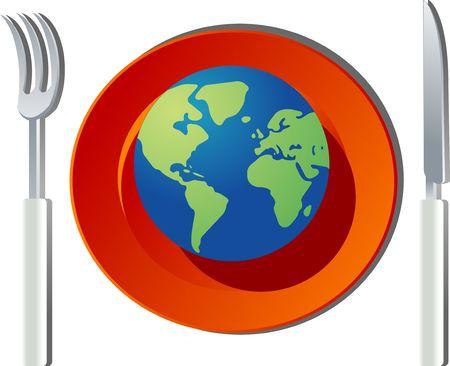 El mundo en tu plato. Lugar y con el mundo en un plato; Globo se encuentra en América, África y Europa  Foto de archivo - 3115051