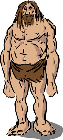 brutish: Scruffy caveman neanderthal hairy male illustration