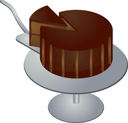 indulgent: Chocolate cake with slice on pedestal illustration