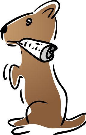 Cartoon illustration of loyal dog pet fetching the newspaper Stock Illustration - 3130039