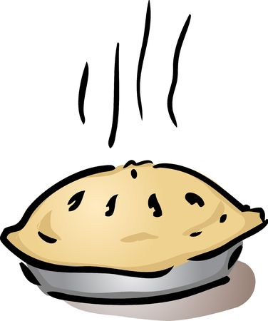 cooling: Fresh, hot, whole pie in pan cooling off, illustration