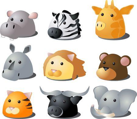 3d lion: Cartoon illustration of African wild safari animals: hippo, zebra, giraffe, rhino, lion, monkey, tiger, buffalo, lion Stock Photo