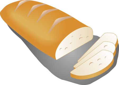 crusty: Sliced country bread baked loaf slices illustration Stock Photo