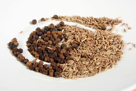 anis: Dried spices pepper corns and anis seeds