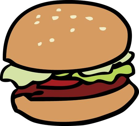 beefburger: Cartoon food illustration of a hamburger with bun
