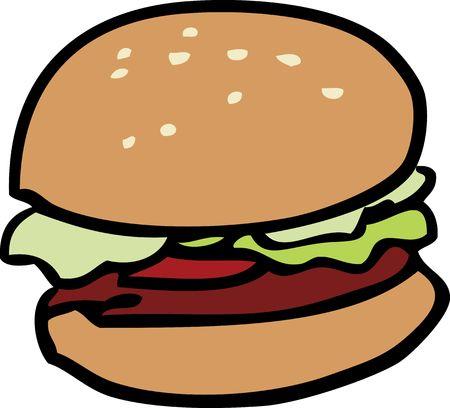 Cartoon voedsel illustratie van een hamburger met broodje