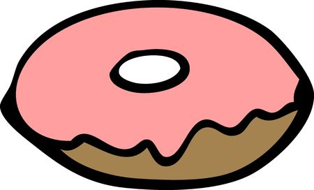 Cartoon food illustration of a donut with pink glazing illustration