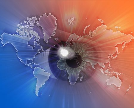 hologram: Digital collage of an eye over a map of the world orange blue
