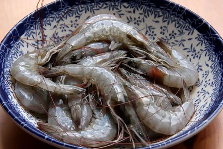 Whole fresh raw prawns in shell unpeeled Stock Photo - 3150200