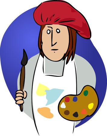 smock: Cartoon illustration of an artist wearing a smock with paints
