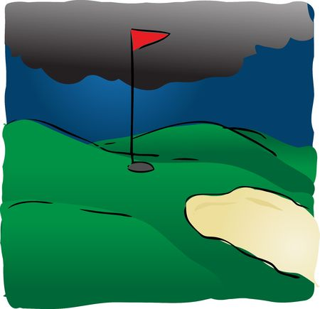 obstacle course: Golf course in bad weather with dark storm rain clouds, illustration