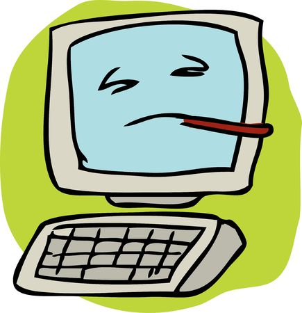 Cartoon illustration of a sick infected computer with thermometer illustration