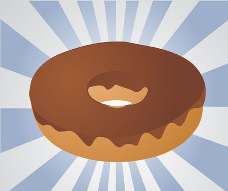 carb: Chocolate icing covered donut vector isometric illustration