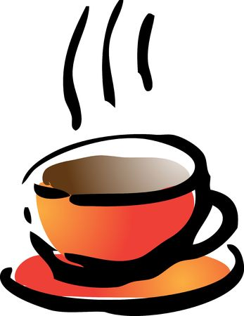 depiction: Illustration of a cup of coffe rough hand-drawn sketch