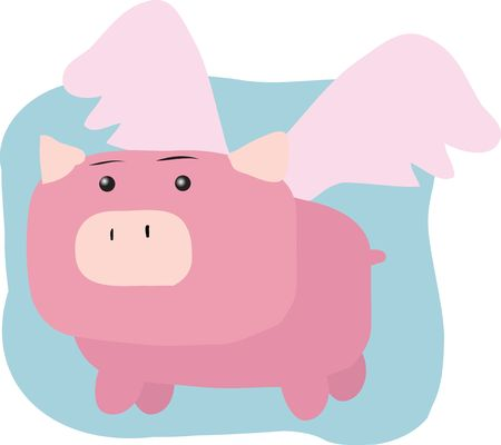 Pig with wings, illustration of when pigs fly illustration