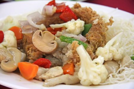 chinese yam: Yam basket traditional chinese cuisine, meat and vegetables with fried yam dough