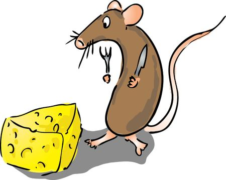 Cartoon illustration of a mouse about to eat some cheese