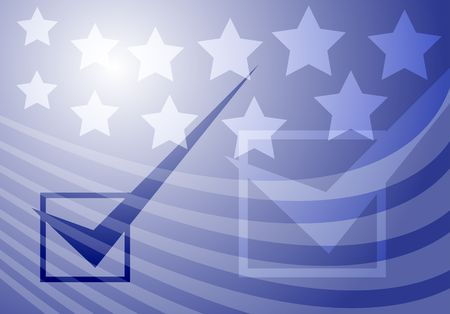 Graphic illustration with checkmark over stars and stripes USA elections illustration