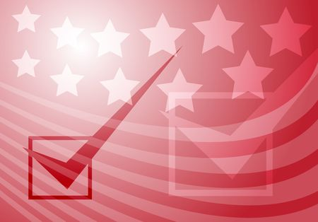 Graphic illustration with checkmark over stars and stripes USA elections Stock Illustration - 3210759