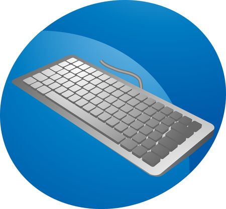 input device: keyboard in 3d isometric view, computer input device silver color