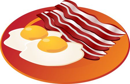Bacon and eggs illustration breakfast on orange plate illustration