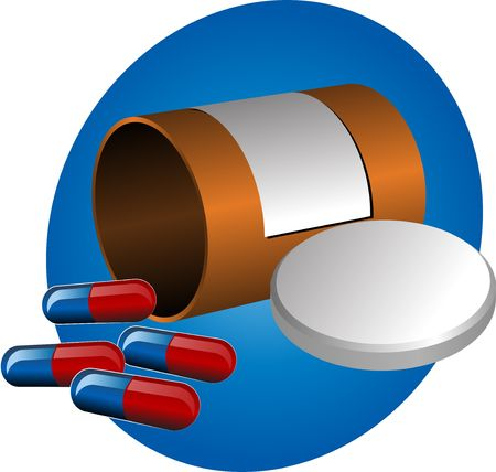 pillbox: Pillbox with label, cap open and scattered pills. illustration Stock Photo