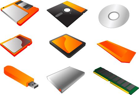 random access memory: Storage media, vector illustrations, 3d isometric style: 3 12 floppy diskette, 5 14, cd, sd card, cf card, memory stick, usb pendrive, external hard disk, ram  memory Stock Photo