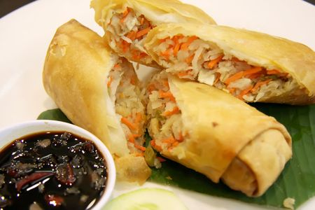 Fried chinese spring rolls traditional vegetable wraps photo