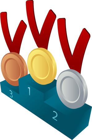 pedestal: Medals on championship pedestal illustration
