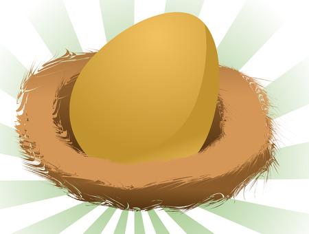 Illustration of a nest egg, golden egg in a nest Stock Vector - 3279405