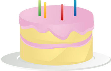 Birthday cake with pink icing and candles, 3d isometric illustration Vector