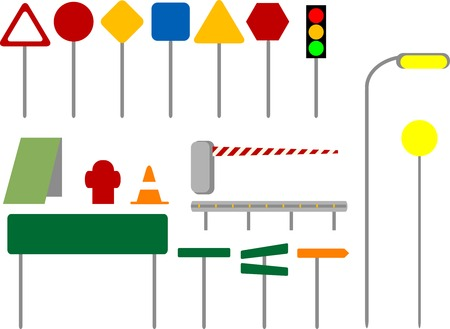 road barrier: Colorful traffic sign icons.