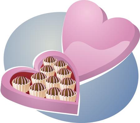 ocassion: Heart-shaped box of chocolates. Vector isometric illustration