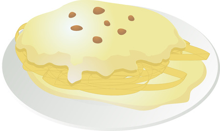 Illustration of spaghetti carbonara pasta in cream sauce Vector