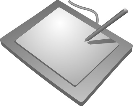 input device: Drawing tablet input device, connects to computer to allow drawing