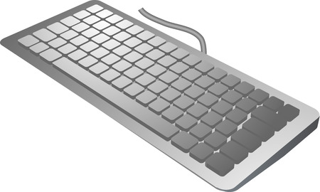 keyboard in 3d isometric view, computer input device silver color Stock Vector - 3284712