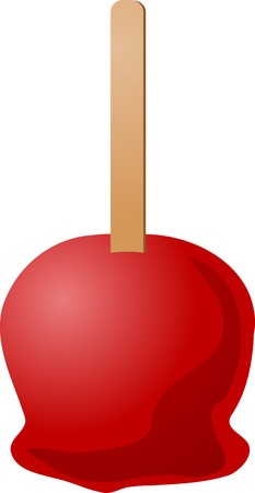 candy apple: Illustration of caramel apple on a stick, isometric 3d illustration Illustration