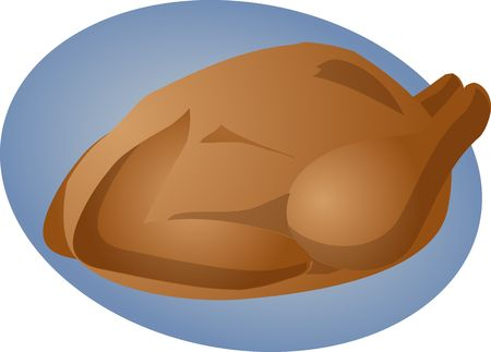 whole chicken: Whole roast chicken cooked food illustration clipart