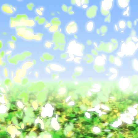 springtime: Falling leaves and petals springtime colors against blue sky Stock Photo