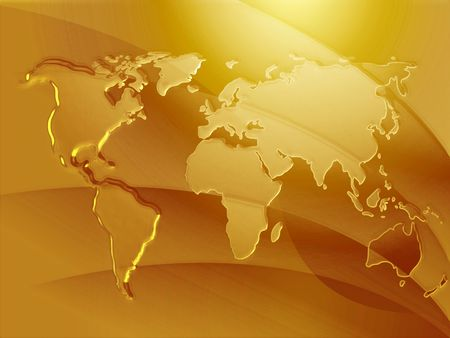 global background: Map of the world in metallic embosed style