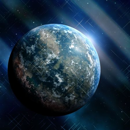 fantastic world: Generic earthlike planet in outerspace with stars and nebula, rendered illustration Stock Photo