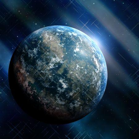 outerspace: Generic earthlike planeta en outerspace con estrellas y nebulosa, dictado ilustraci�n