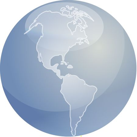 the americas: Map of the Americas on a glossy sphere Stock Photo