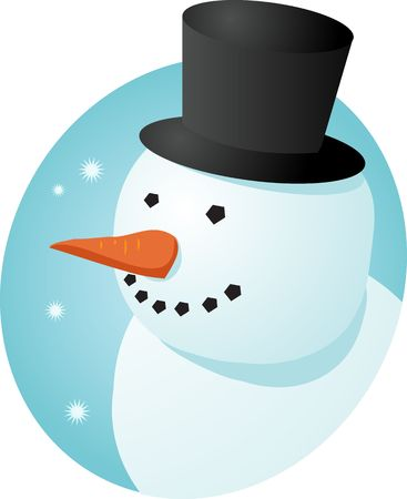 cheery: Smiling cheery snowman in tophat, winter scene illustration