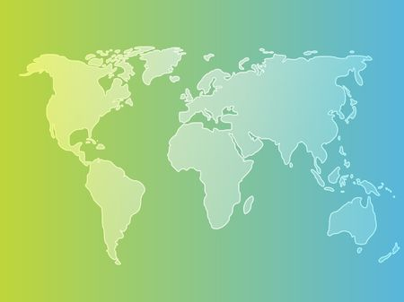 Map of the world illustration, simple outline on gradient color Stock Illustration - 3392920