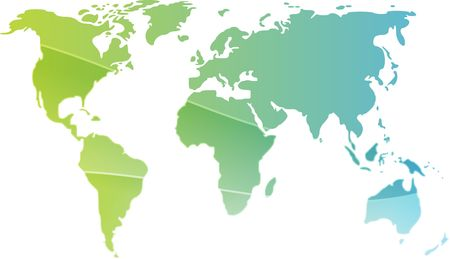 Map of the world illustration, simple outline gradient colors illustration
