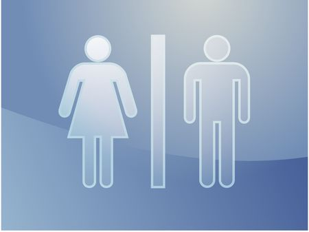 Toilet symbol illustration, classic design of man and woman illustration