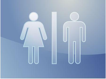 Toilet symbol illustration, classic design of man and woman Stock Illustration - 3392892