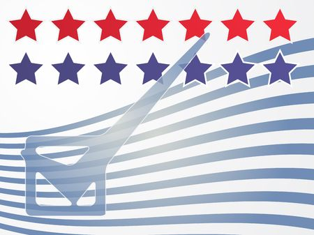Checkmark over stars and stripes, illustrationg United States elections illustration